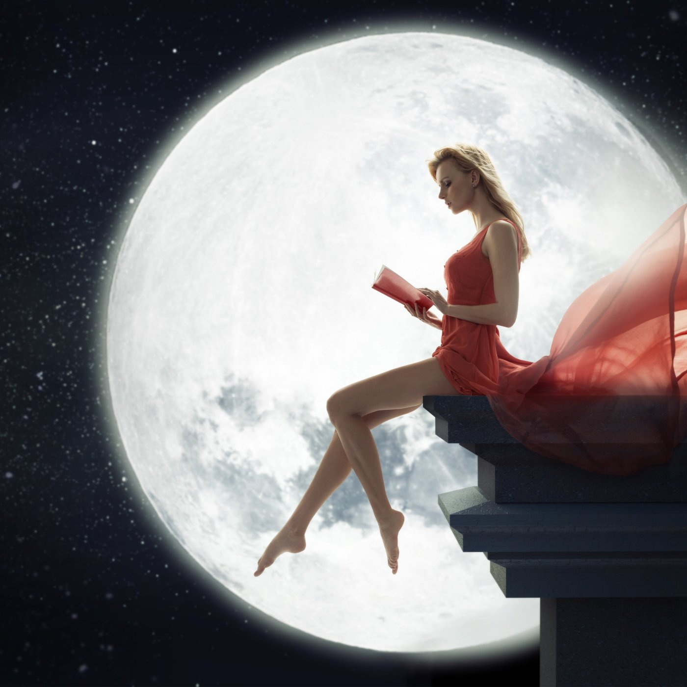 The moon and the girl